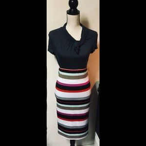 Multicolored Striped Pencil Skirt, Midi Length, S